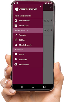 Phone displaying Citizens Bank's mobile app